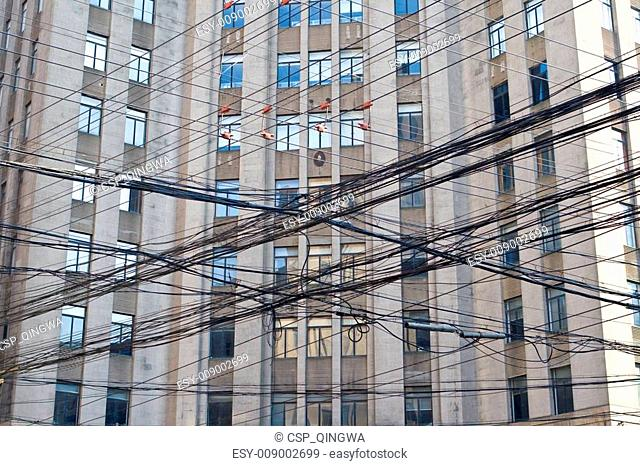 Mass of Telephone and Electrical Lines in Shanghai China
