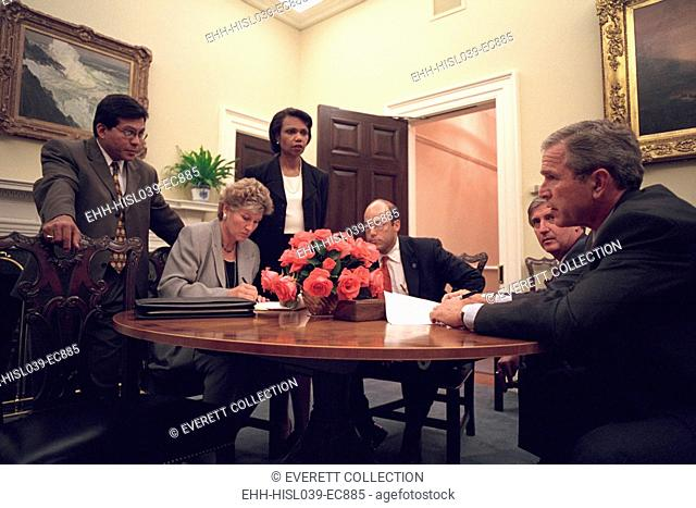 Oval Office meeting on the evening of Sept. 11, 2001, after 9-11 Terrorist Attacks. President George W. Bush is with his senior staff working on the speech that...