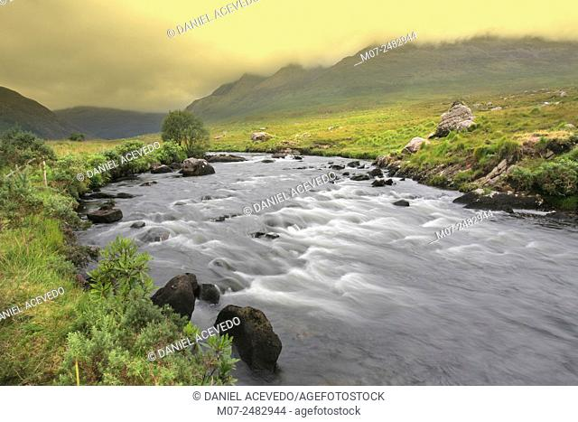 Bundorragha river, Delphi valley, County Mayo, Ireland, Europe