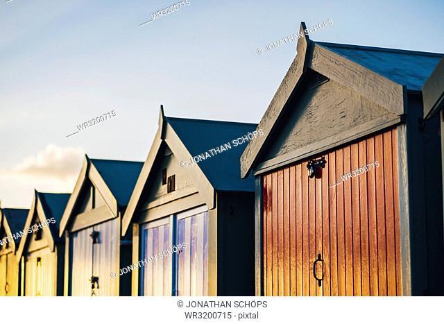 Colorful beach cottages at Brighton Beach, Brighton, England