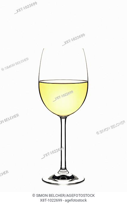 Glass of White Wine Cut Out