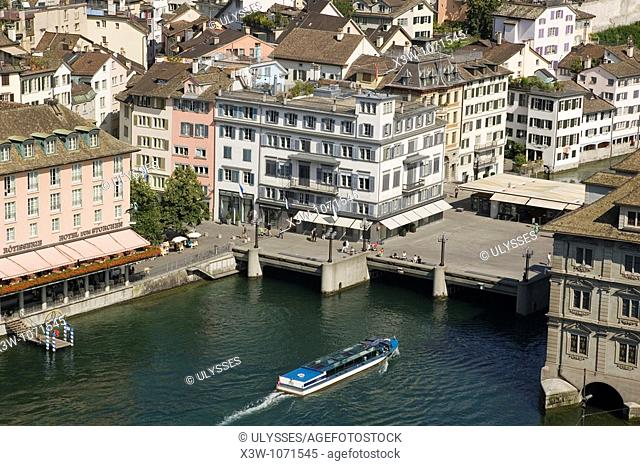 europe, switzerland, zurich, old town, limmat river, fluvial boat