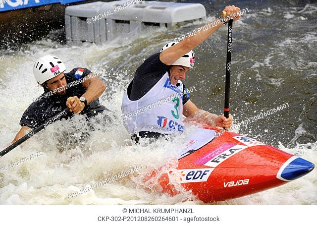 Gauthier Klauss and Matthieu Peche from France, Canoe Double C2, are seen during Canoe/Kayak slalom racing World Championships in Prague, Czech Republic