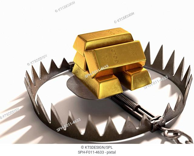 Animal trap with gold bars, computer illustration