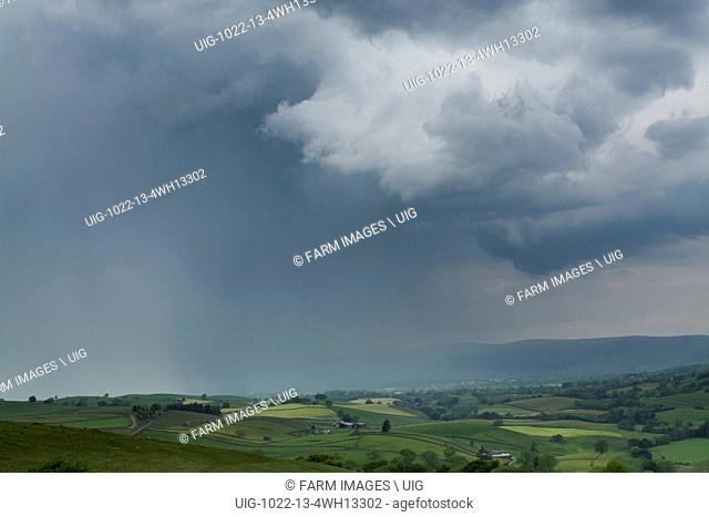 Storm clouds gathering over the upper Eden Valley as summer weather breaks