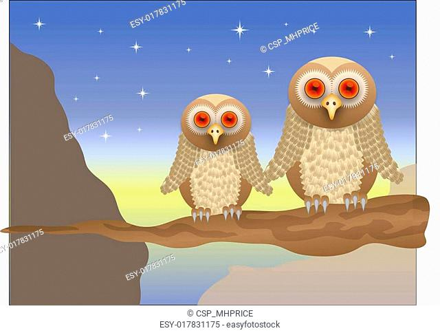 An owl vector illustration with a brown owl with red eyes sitting on a branch at sunset, saved in EPS 10 format