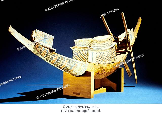 Model of a boat, Ancient Egyptian, 18th Dynasty, c1325 BC. From the Treasure of Tutankhamun (ruled 1333-1323 BC), discovered in the pharaoh's tomb and today...