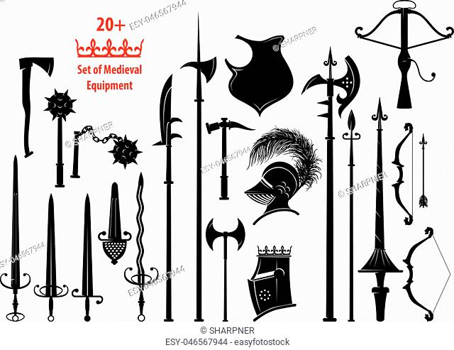 set of silhouettes of medieval equipment and knightly cold and small arms