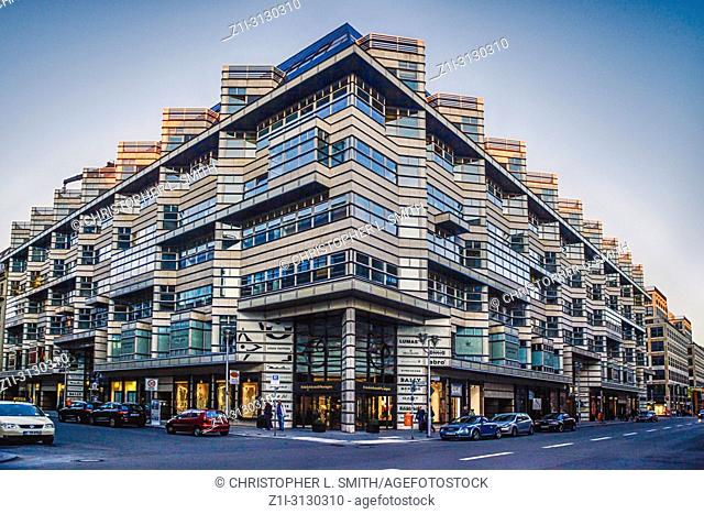 Multi-business and multi-use building in the upmarket shopping district on Friedrichstrasse in Berlin, Germany