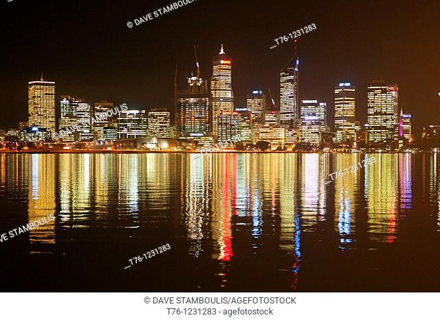 city of Perth reflected in the Swan River at night