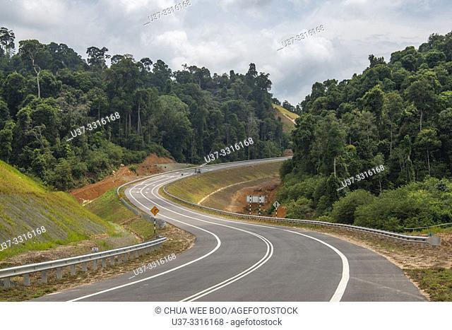 The highway to Telok Melano, Sematan, Sarawak, Malaysia