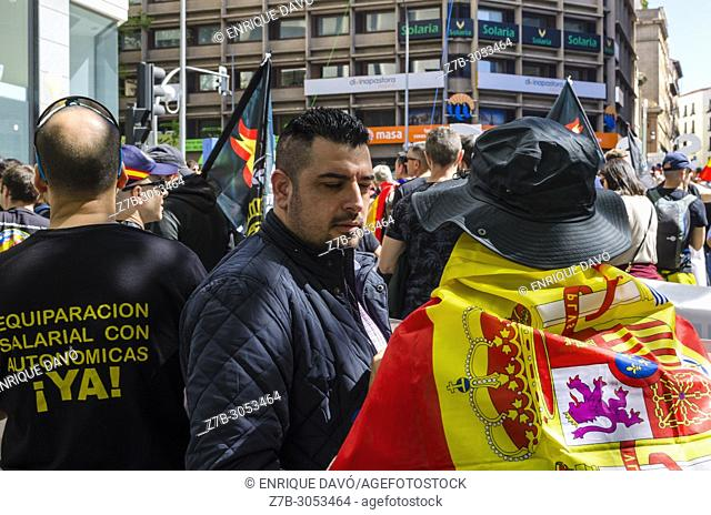 Mass meeting of the Spanish police demanding rights and salarial wage in Plaza de España, Madrid, Spain, on 5th May 2018