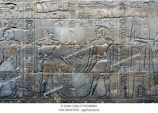 Luxor, Egypt. Temple of Luxor (Ipet resyt): the pharaoh Alexander the Great (356 - 323 b.C.) and the god Amon