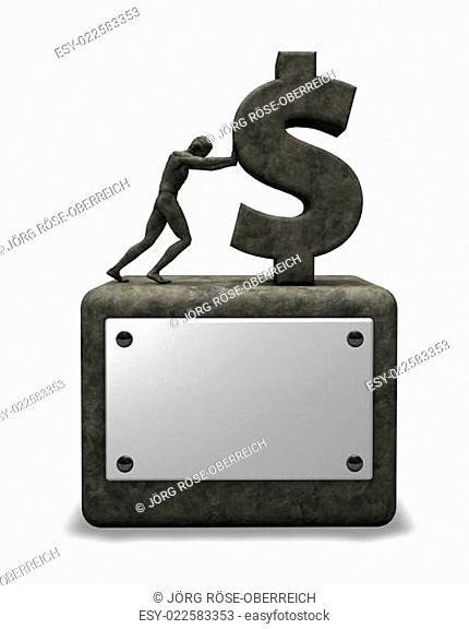 mann schiebt dollarsymbol auf sockel