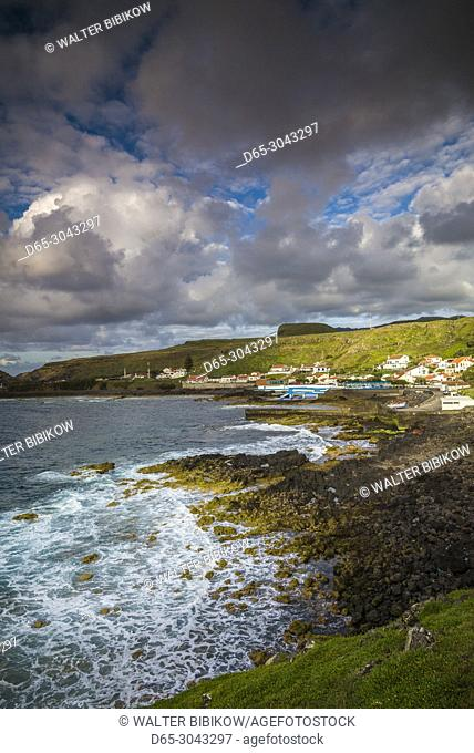 Portugal, Azores, Santa Maria Island, Anjos, place where Christopher Columbus made landfall after discovering the New World, town view, sunset