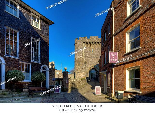 The Barbican Gate and Castle Entrance, Lewes Castle, Lewes, Sussex, England
