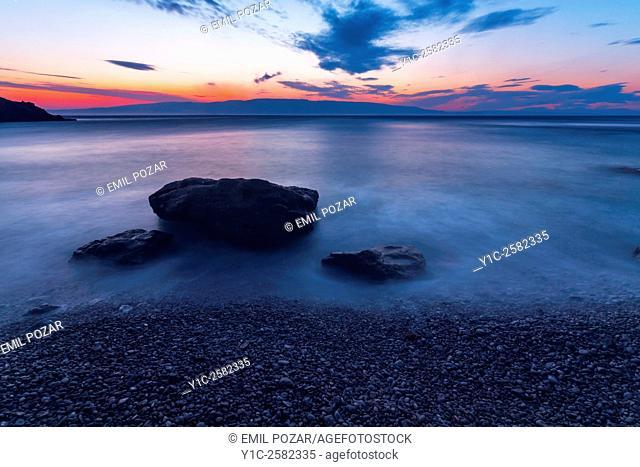 Just after sunset shore rock long exposure Dalmatia in Croatia