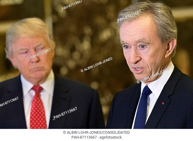 Following their meeting President-elect Trump and LVHM Fashion's Alexandre and Bernard Arnault spoke with the press in the lobby of Trump Tower in New York, NY