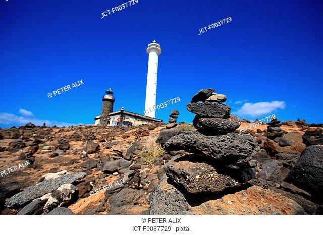 Spain, Canary islands, Lanzarote, Playa blanca, lighthouse of Punta Pechiguera