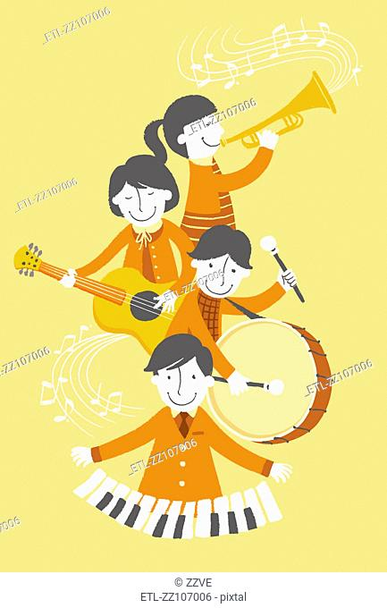 Group of people playing musical instrument