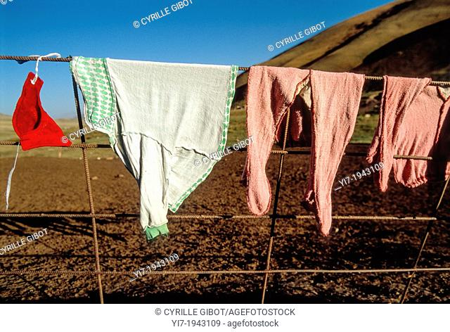 Long johns drying on a fence, Kyrgyzstan
