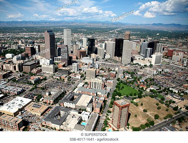Aerial of Uptown and Downtown Denver