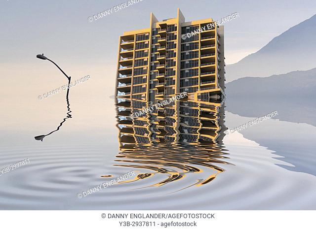 Conceptual image of what Global warming, flooding, and seal level rise might look like in the future
