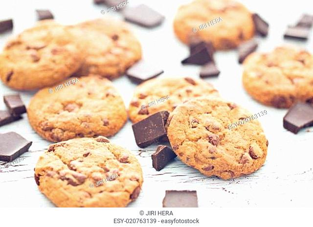 chocolate cookies on old wooden table