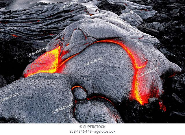 Close Up of Glowing Hot Pahoehoe Lava Formation