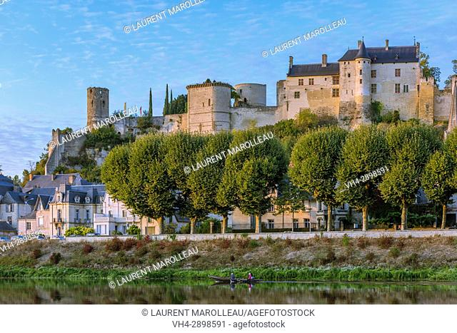 The banks of Vienne River, the City and the Royal Fortress of Chinon. Indre-et-Loire, Central Region, Loire Valley, France, Europe