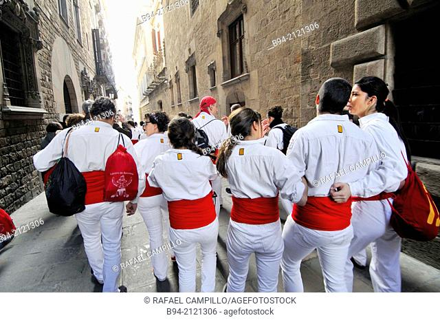 Falcons group of castells, human towers. Celebration of saint Eulalia martyr, February 12. 290-303 AD. Canonized 633 AD. Copatron of Barcelona