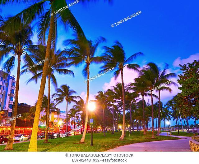 Miami Beach South Beach sunset in Ocean Drive Florida