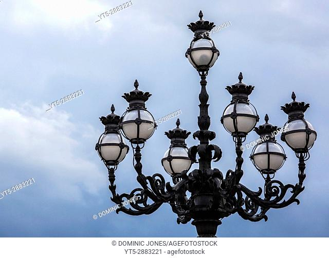 An ornate lamp in St. Peter's Square, Vatican City, Europe