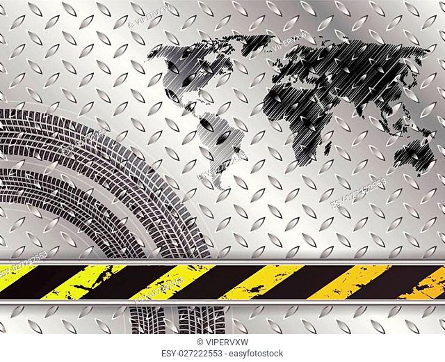 Industrial background design with scribbled world map and tire treads