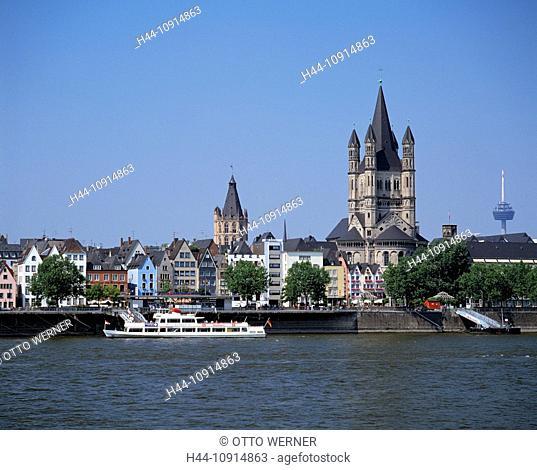 Germany, Cologne, Rhine, North Rhine-Westphalia, town panorama, Rhine shore, promenade, historical city hall, church, Gross St