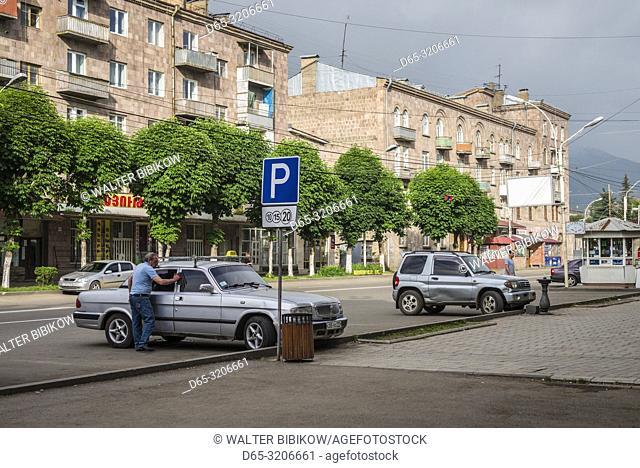 Armenia, Vanadzor, parking area with driver, NR