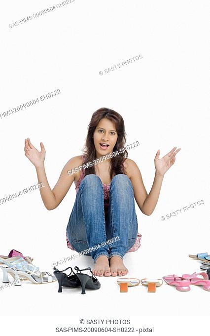 Woman choosing footwear