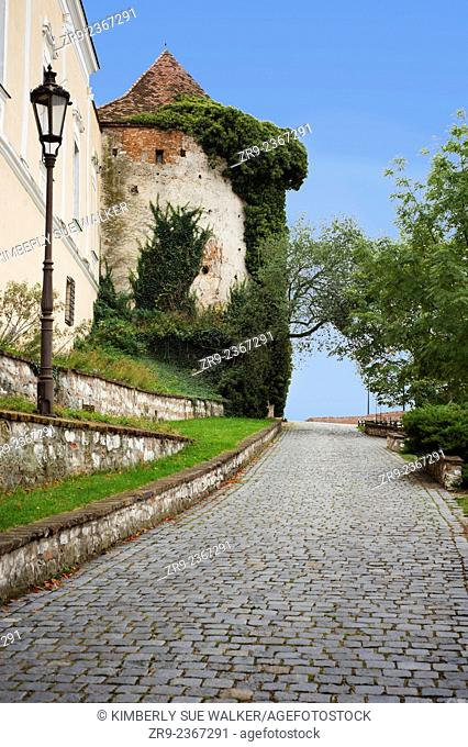 Brick walkway on Lichenstein castle grounds, South Moravia, Mikulov, Czech Republic, Europe