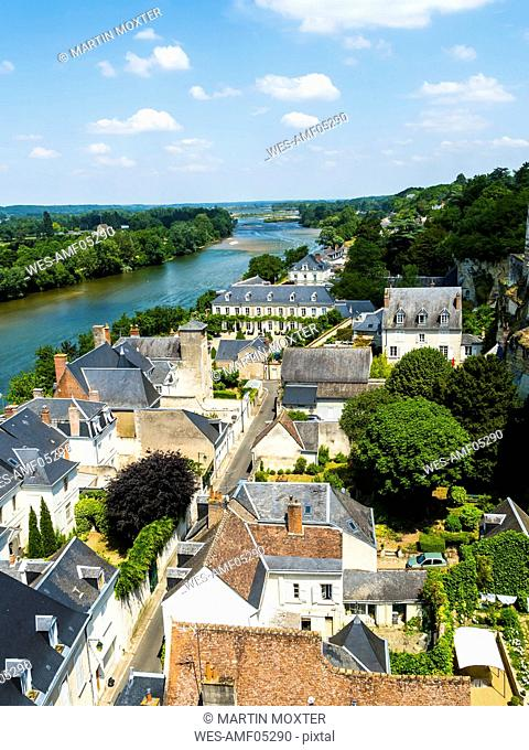 France, Amboise, view to the old town and River Loire from above