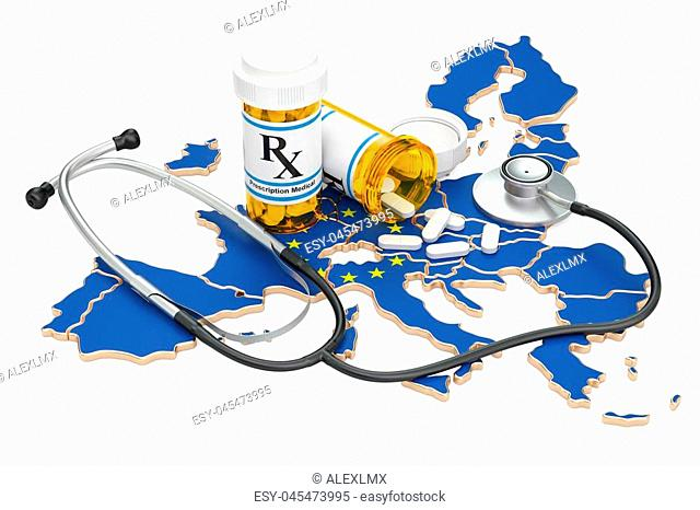 Healthcare in the EU concept, 3D rendering isolated on white background