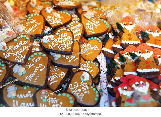 Assorted Lebkuchen gingerbread on a Christmas market stall