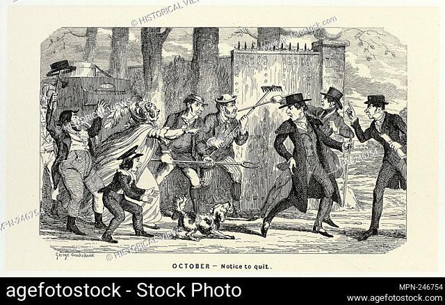 October - Notice to Quit from George Cruikshank's Steel Etchings to The Comic Almanacks: 1835-1853 - 1840, printed c. 1880 - George Cruikshank (English