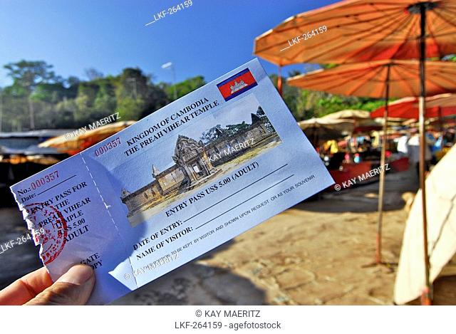 Cambodian entry ticket, historical site disputed between Thailand and Cambodia, Prasat Khao Phra Wihan resp. Preah Vihar, cambodian name, Asia