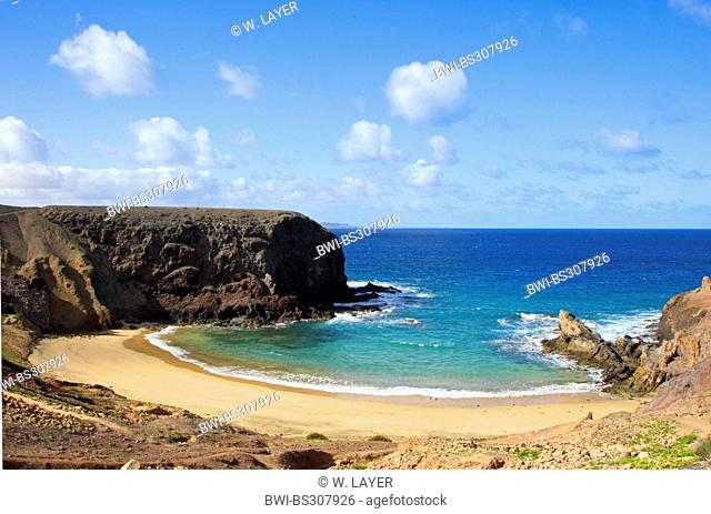panoramic view on the Playas de Papagayo, Canary Islands, Lanzarote