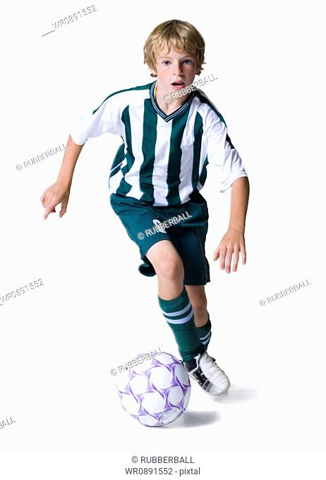 Portrait of a boy playing soccer