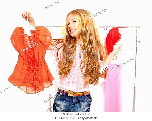 fashion victim kid girl at backstage wardrobe