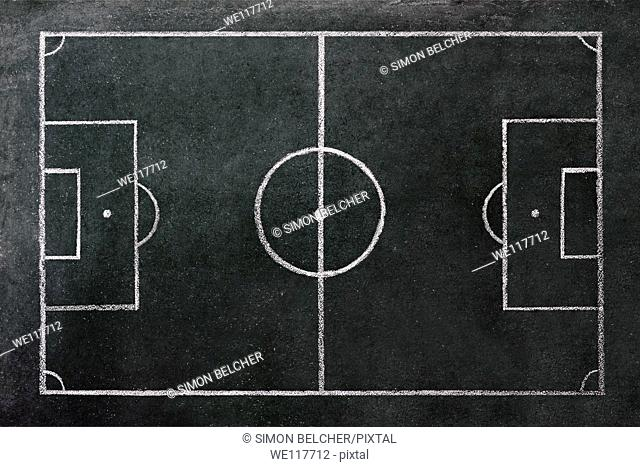 Football Pitch Drawn on a Chalkboard