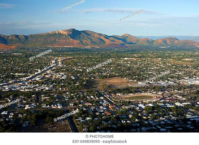Aerial view on Townsville city with mountain in distance - North Queensland, Australia