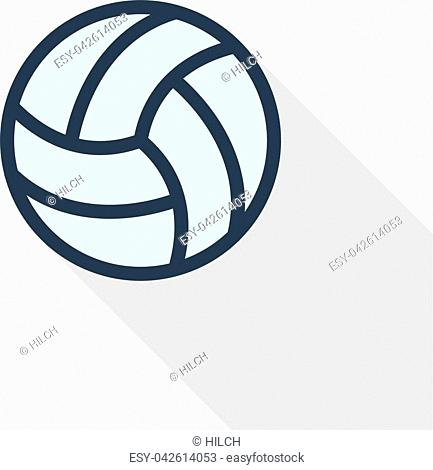 volleyball ball thin line flat color icon. Linear vector illustration. Pictogram isolated on white background. Colorful long shadow design