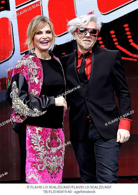Simona Ventura, Morgan during the photocall of tv show The voice of Italy, Milan, ITALY-18-04-2019